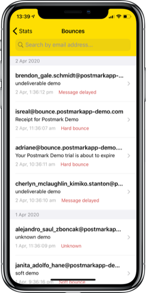 Bounce search screenshot
