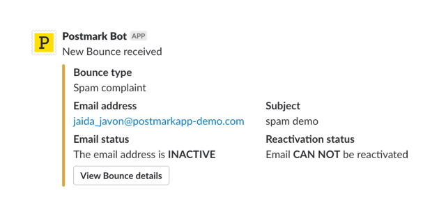 A screenshot of a Postmark bounce notification in Slack.