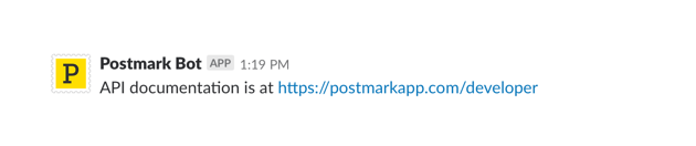 A screenshot of a link to the Postmark docs in Slack.
