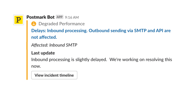 A screenshot of a Postmark status update in Slack.