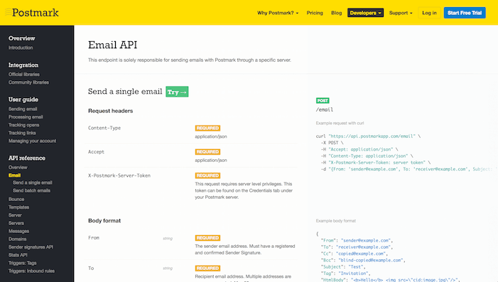 Screenshot of the Postmark API documentation