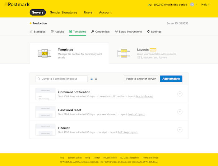 Screenshot of the Postmark Templates page